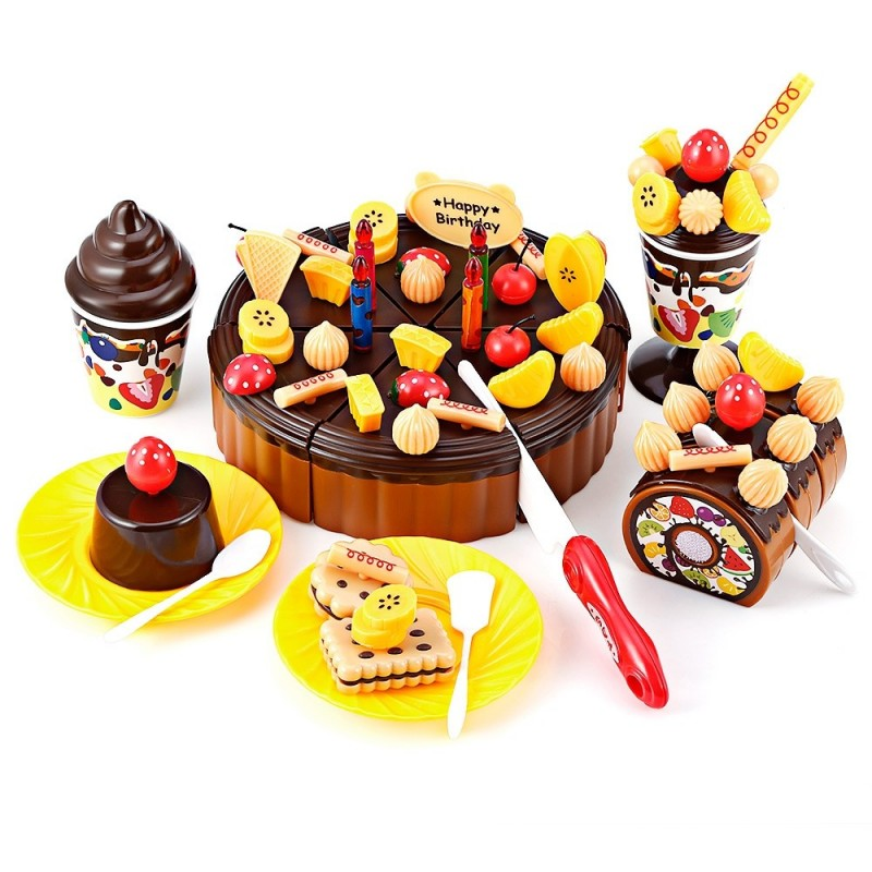 73PCS Birthday Party Play Fruit Food Cake for Children - Chocolate - 3F30070913
