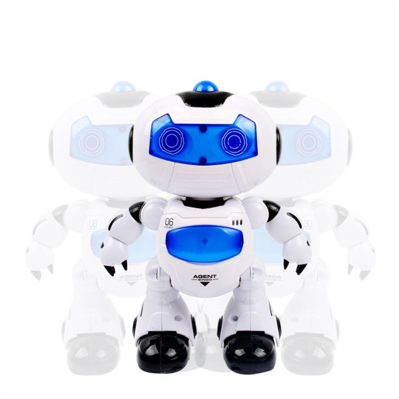 Electronic RC Robot Learning Toys Toddler Intelligent Action Dancing Remote Control with Music Lights for Kid - White Blue