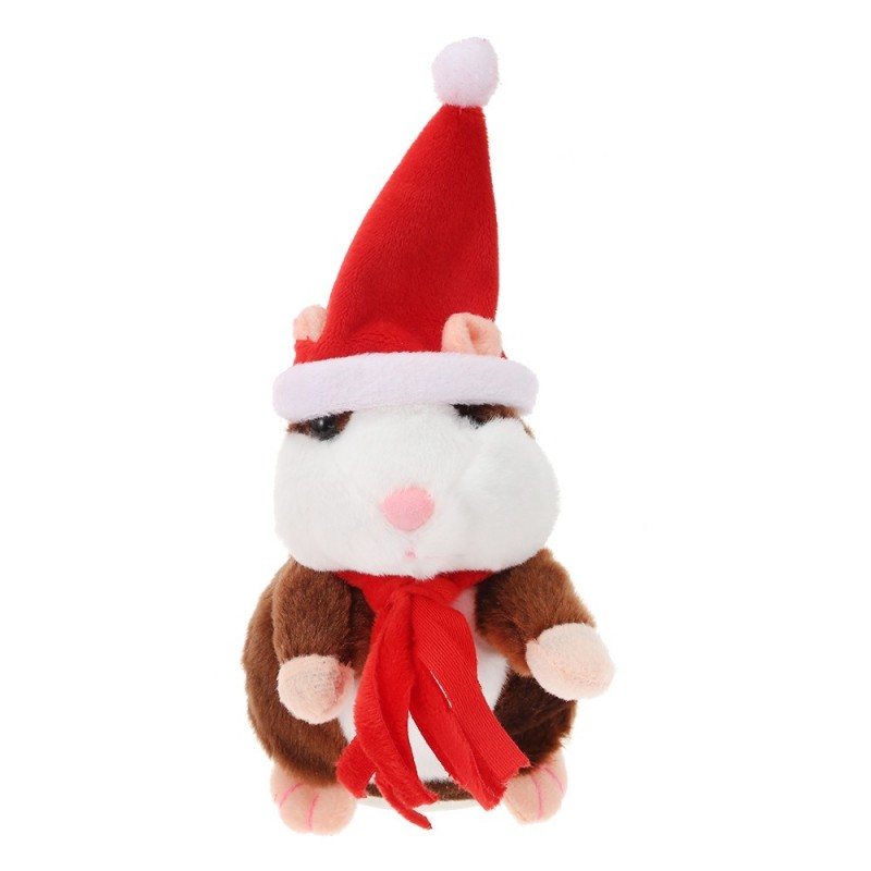 Christmas Style Cute Talking Hamster Plush Toy Sound Record - Deep Brown - 3755466416