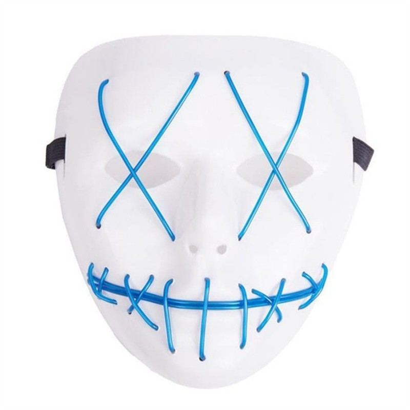 LED Light Up Funny From Purge Election Great Halloween Mask - Light Sky Blue - 3009988012