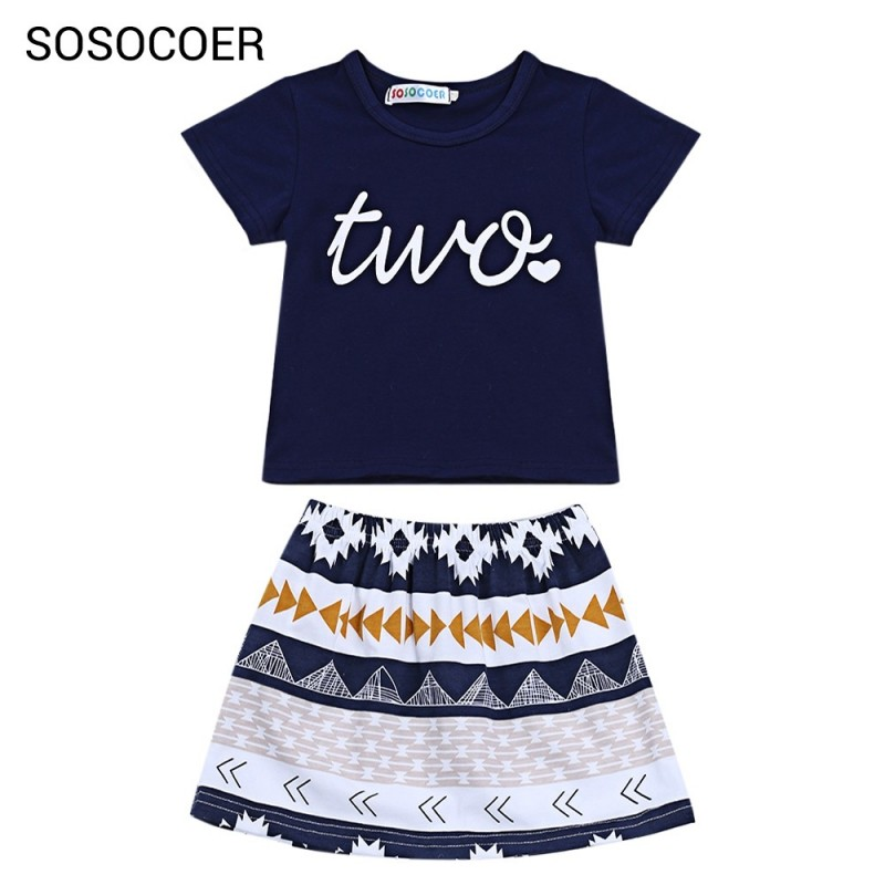 SOSOCOER 2pcs Girls Letter Two Print T-shirt Geometric Skirt - Cornflower - 3T24805112