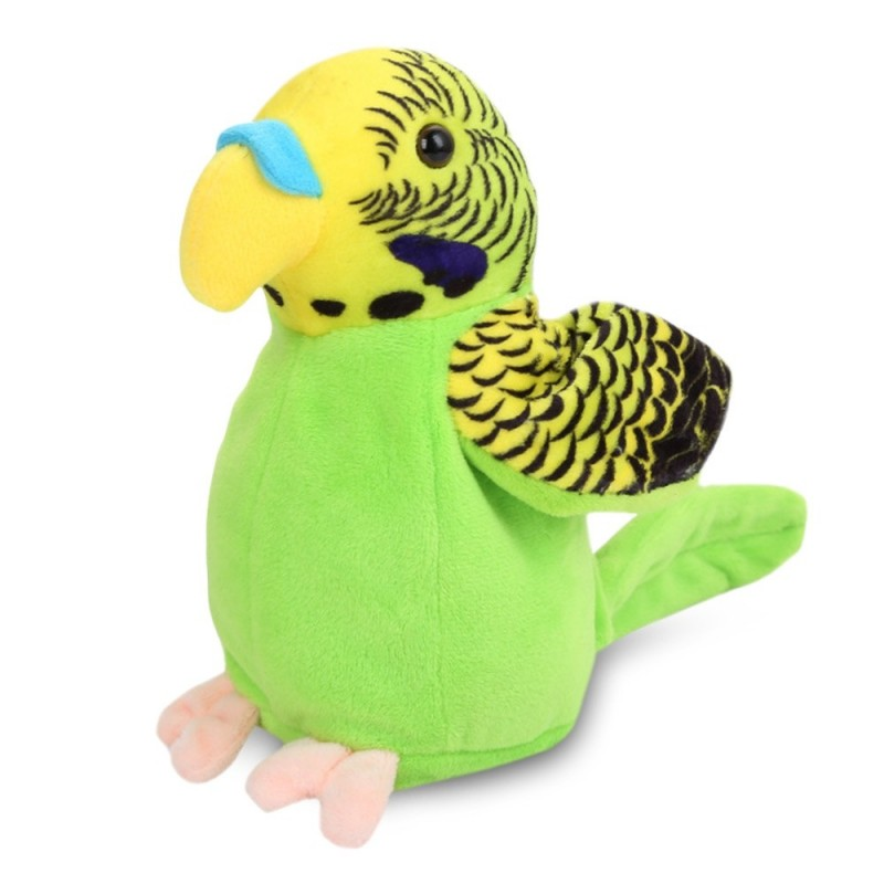 Stuffed Plush Parrot Toy Electric Talk Repeat Speak Record Bird Wave Wings Doll - Green Apple - 5B57442113