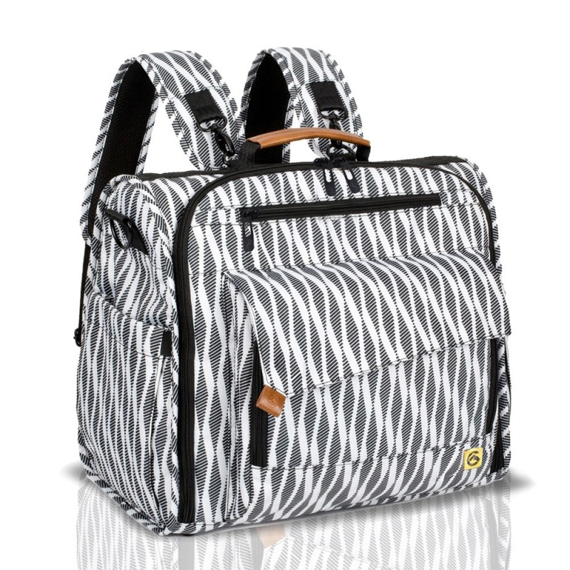 ALLCAMP Zebra Diaper Bag Large Support Baby Stroller Converted Into A Tote Bag - White - 5P40426912