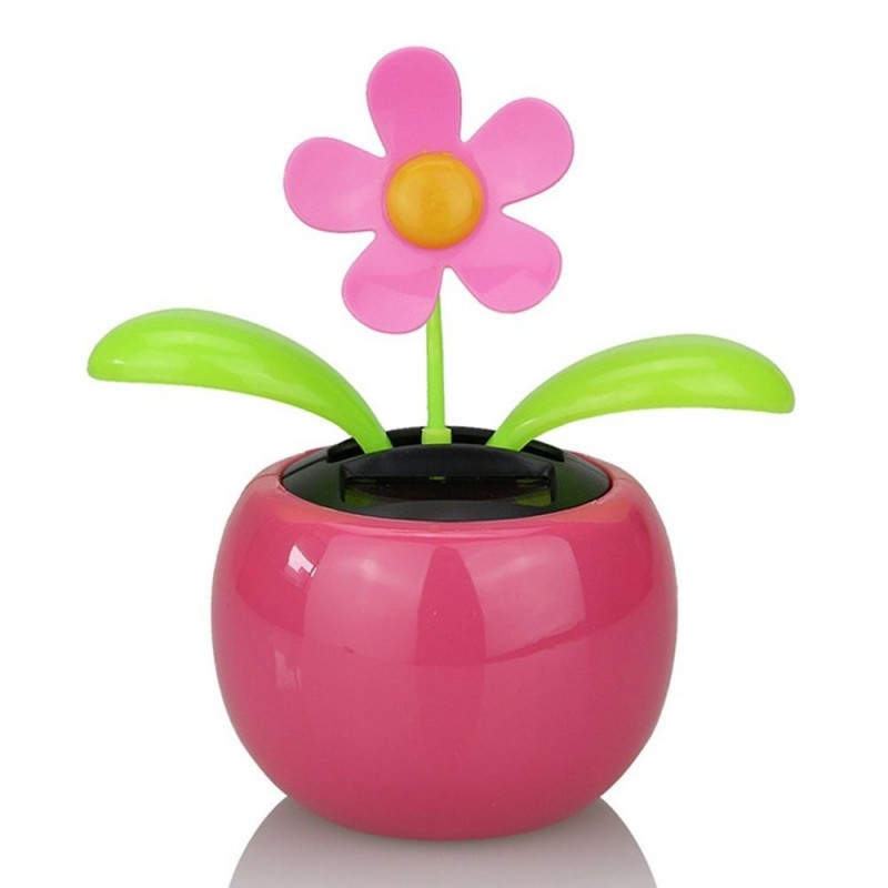 Flip Flap Solar Powered Flower Flowerpot Swing Dancing Toy - Rose Red - 3X84138512