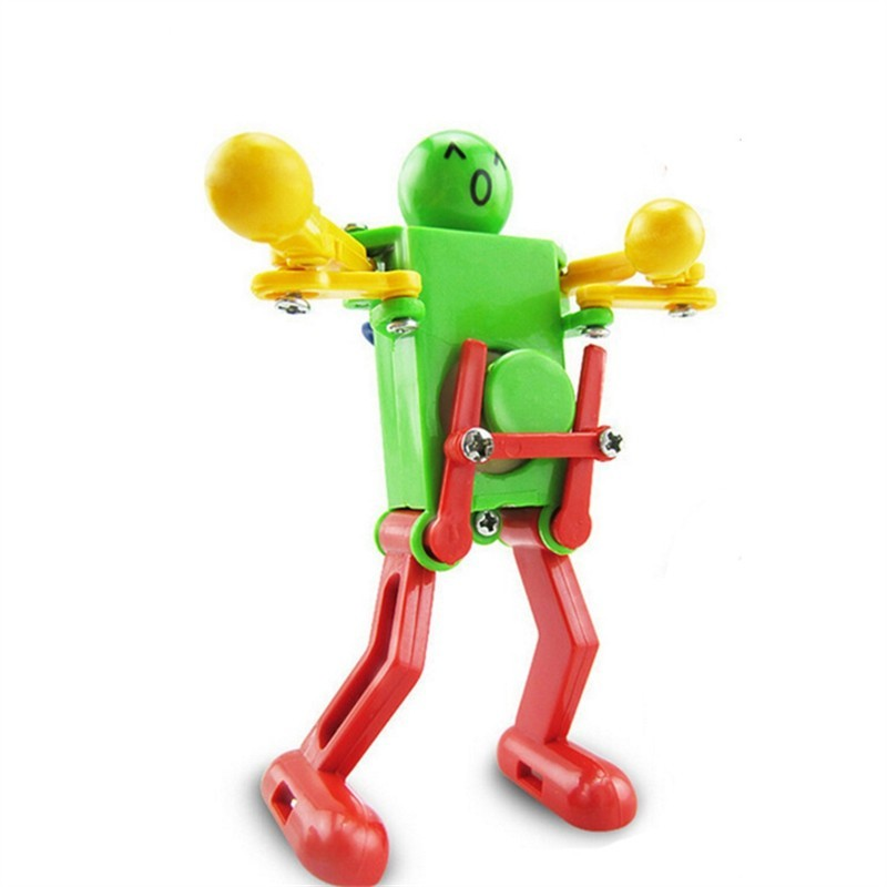 Colorful Clockwork Spring Wind up Dancing Walking Robot Toy - Multi - 3359751712
