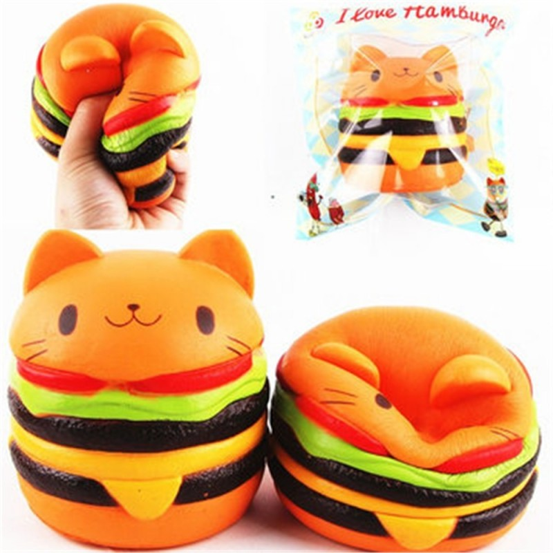 Jumbo Squishy Cat Burger Slow Rising Soft Animal Collection Gift Decor Toy Original Packaging - Colormix - 3M66651612