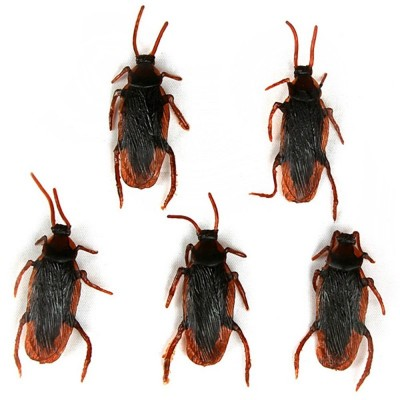 Plastic Artificial Cockroach Realistic Prank Trick Toy for Fools Day Halloween Party 5pcs - Deep Brown - 2522869112