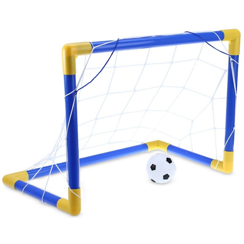 Mini Football Soccer Goal Post Net Set with Pump Indoor Outdoor Kids Sport Toy - Blue And Yellow - 2006033312