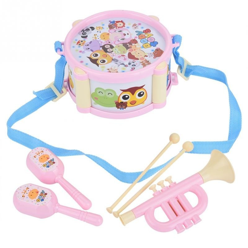 Kids Musical Instrument Toys 5pcs Double Sided Waist Drum Knocking Blow Toy - Pink - 4589742713