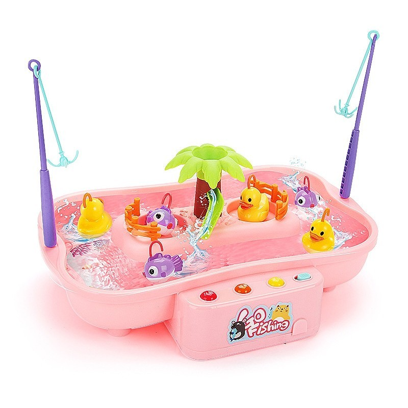 Rotating Electric Music Light Fishing Education Toy Set - Pink - 5Y51746113