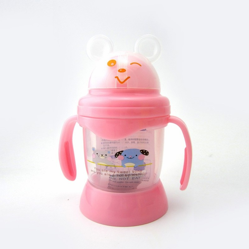 Baby's Drinking Cup 250MLCute Cartoon Animal Pattern Convenient Durable Bottle - Pink - 4K87989413