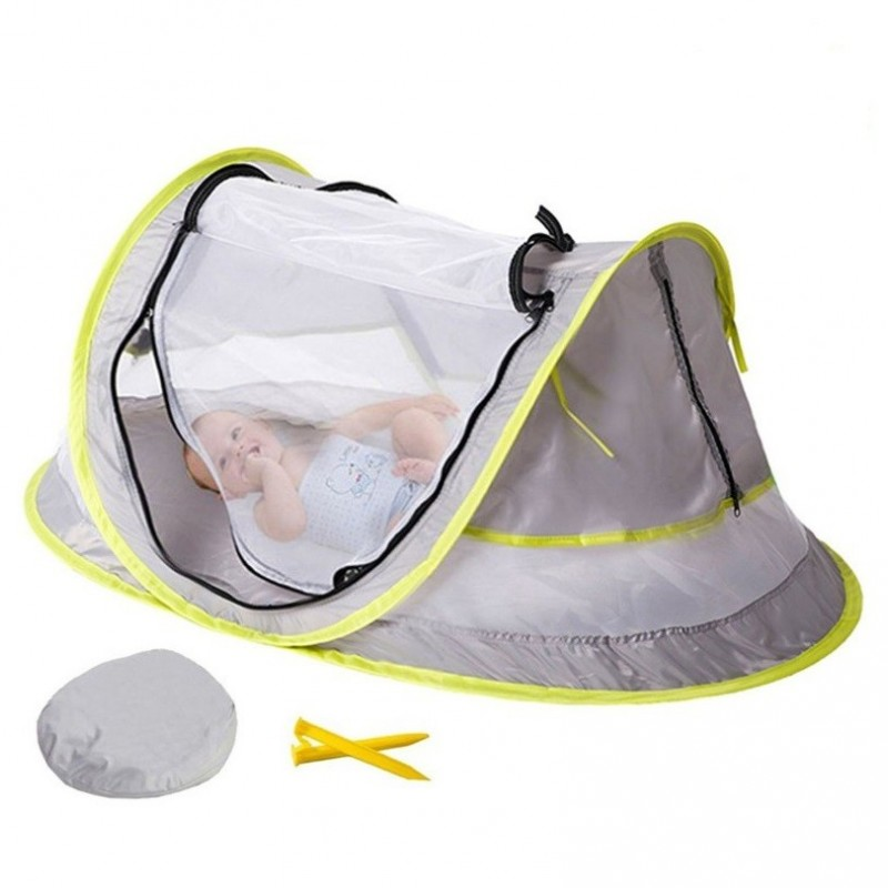 Portable Baby Crib Travel Bed Beach Tent with UV Protection - Gray Cloud - 3F85968312