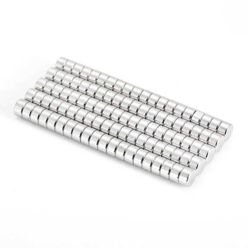 100pcs 5 x 5 x 3mm N52 Strong NdFeB Cylinder Magnet Birthday DIY Intelligent Gift - Silver - 2304292912