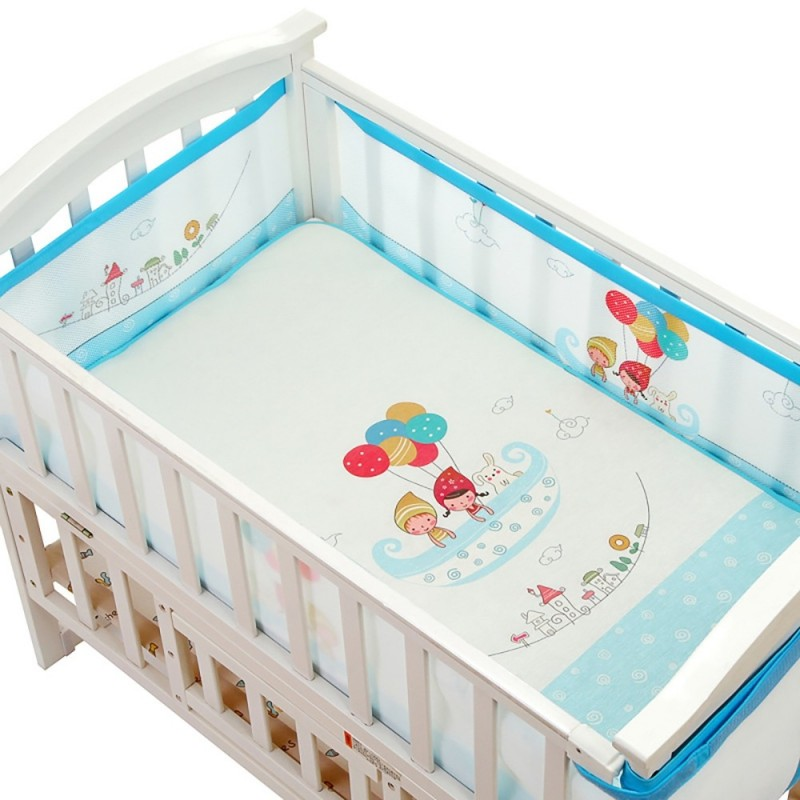 Baby Bed Crib Bumper Breathable Infant Bedding Set - Blue - 3V61236912