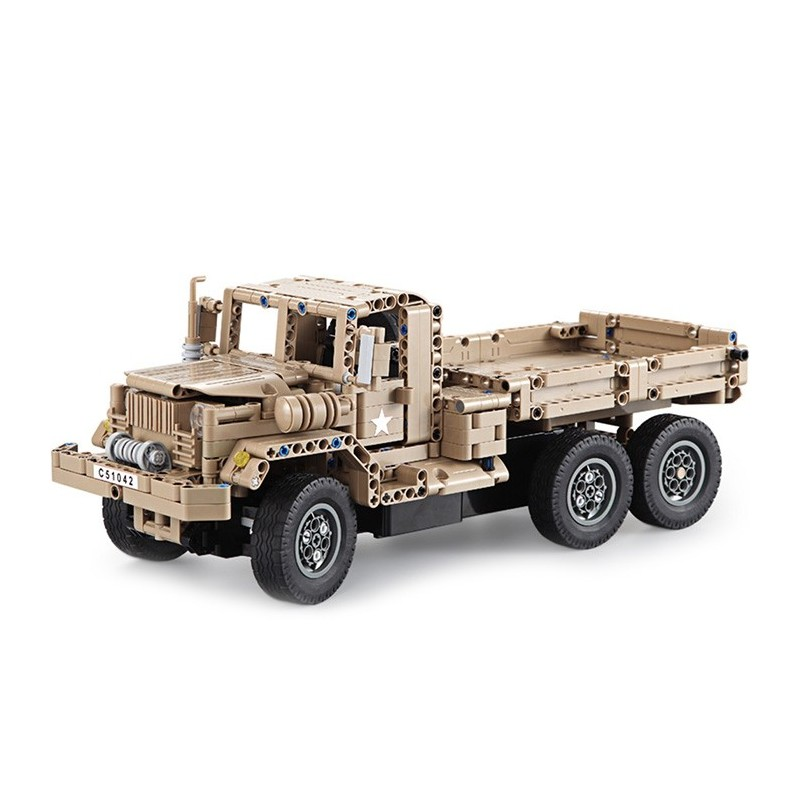 CaDA DIY Assembled Simulation Military Truck Building Block Toy with Remote Control - Light Khaki - 3A80412812