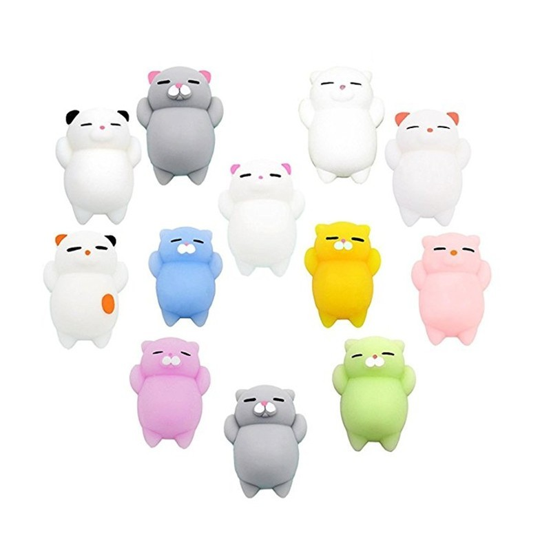 Mini Cartoon Cat Fidget Toy Stress Reliever Soft Jumbo Squishy Slow Resin12PCS - Multi - 3E77667612