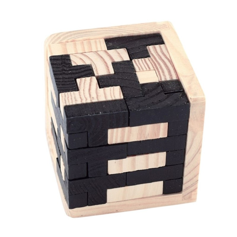 3D Wooden Toy Brain Teaser Geometric T Shape Matching Jigsaw Puzzle - Black - 3M83133912