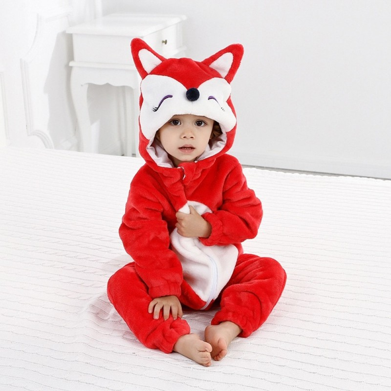 Baby Long Sleeve Cartoon Animal Modeling Warm Romper - Red - 4P07467724