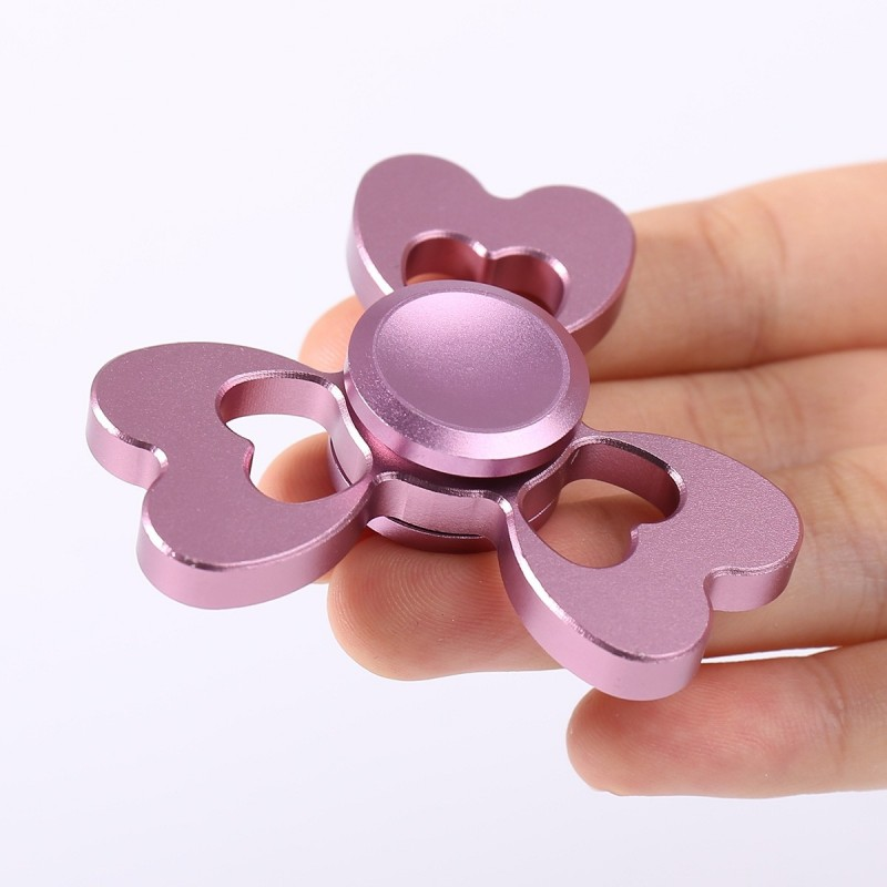 Alloy Fidget EDC Toy Clover Shaped Finger Gyro - Pink - 3523704513