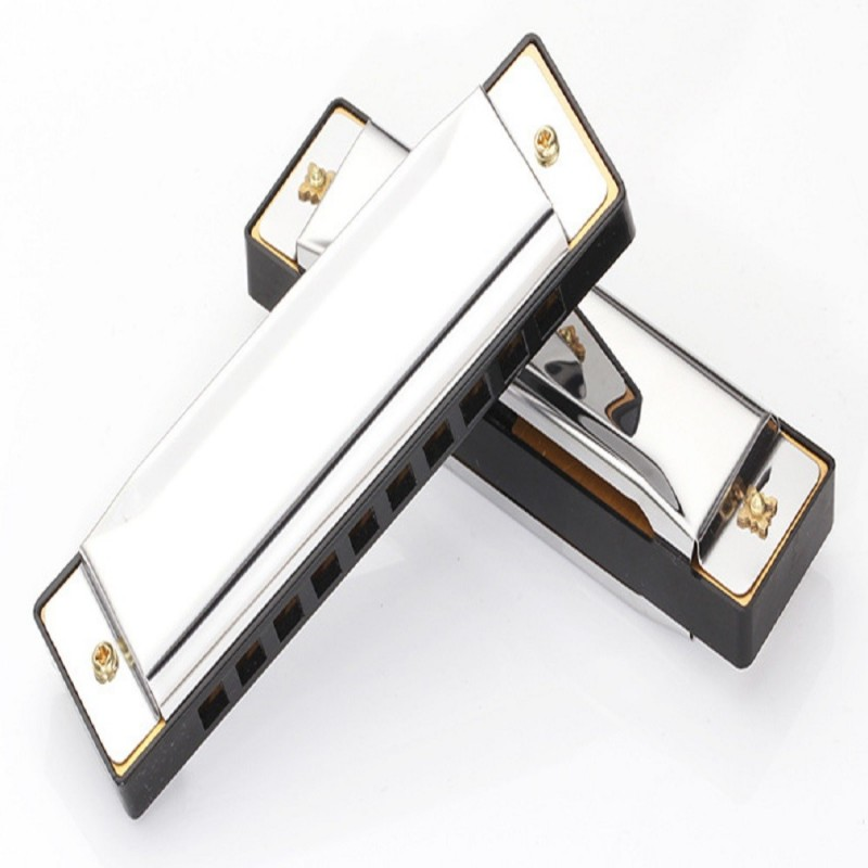 Harmonica Key of C 10 Tremolo Hole Diatonic polyphony Tone Blues Harmonica - Silver - 3Q49032012