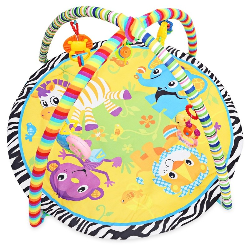 Baby Soft Play Mat Cartoon Animal Gym Fitness Blanket with Frame Rattle Crawling Developmental Toy - Colormix - 2905311912