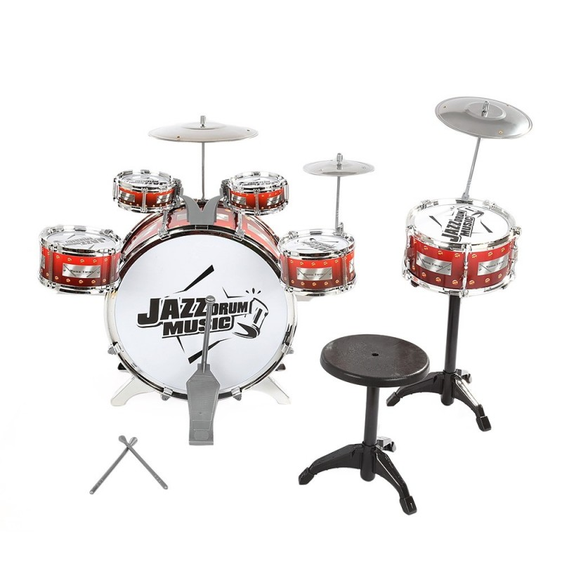 Kids Drums Kit Musical Instrument Toy with Cymbals Stool Christmas Birthday Gift - Wine Red - 2O09028414