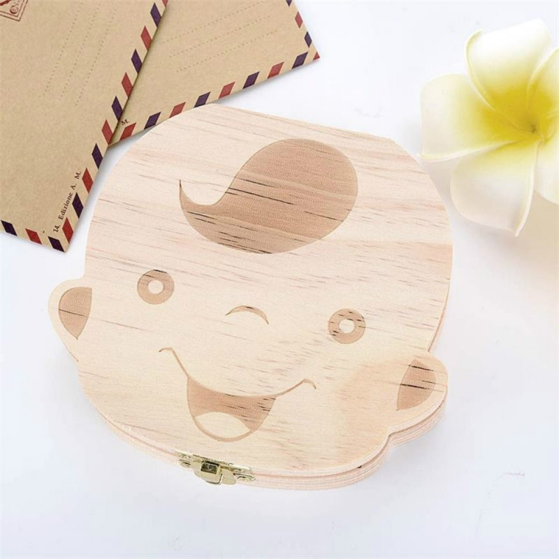 Baby Organizer Dental Teeth Box Milk Tooth Wooden Container - Beige - 3355501212