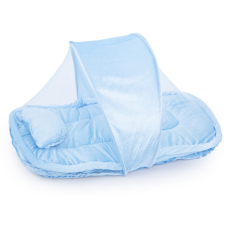 Breathable Durable Babies Folding Thickening Mosquito Net with Pillow - Blue - 2896973213