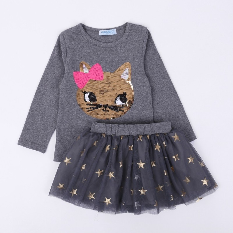 Autumn Baby Girl Clothes Girls Clothing Sets Cartoon Sequins Cat Long Sleeve - Gray - 4L79025213