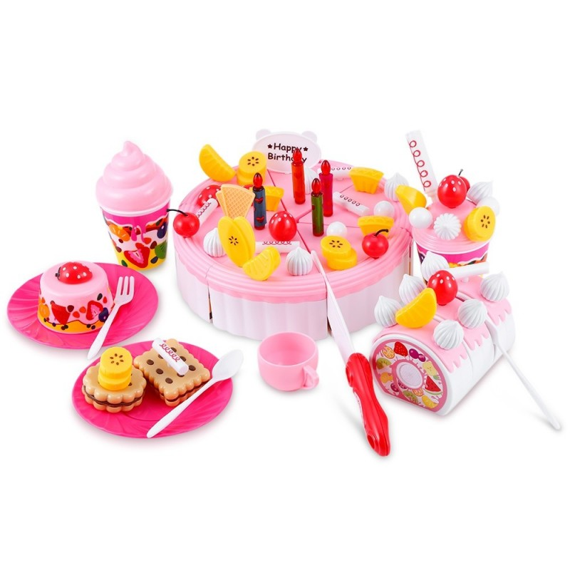 73PCS Birthday Party Play Fruit Food Cake for Children - Pink - 3830070912