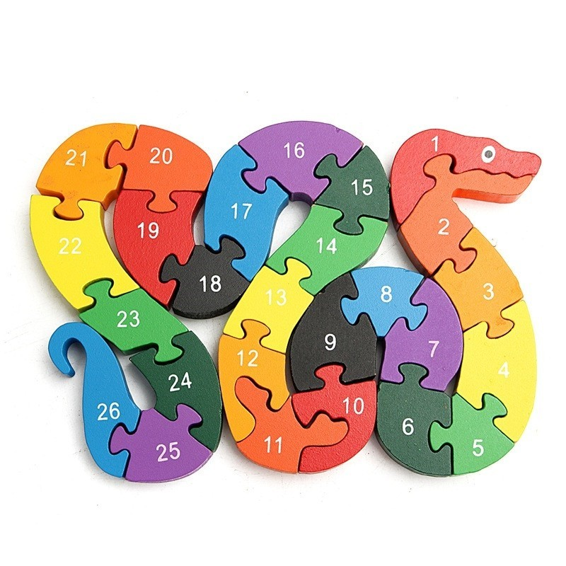 3D Wooden Winding Animals Cognition Jigsaw Puzzle Toy - Multi-A - 3H87007112