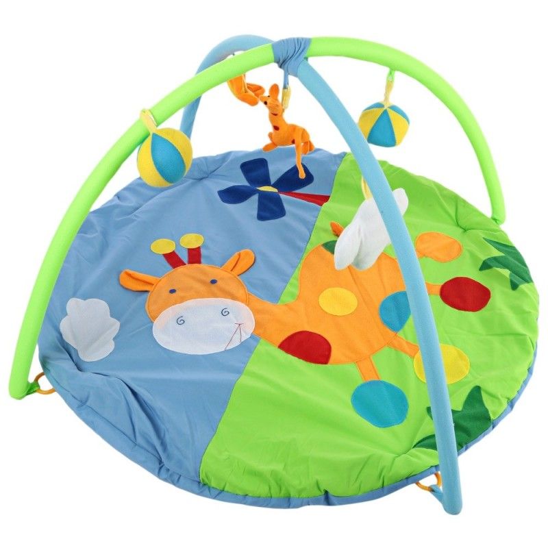 Baby Soft Play Mat Deer Gym Blanket with Frame Rattle Crawling Toy - Colormix - 2Y03922812