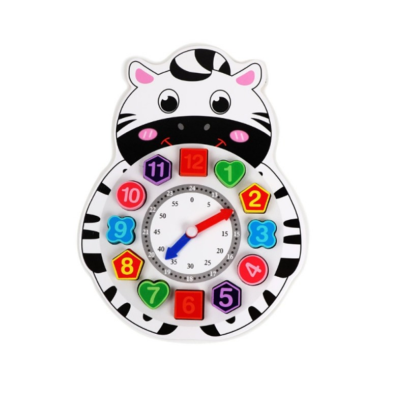 Wooden Lacing Beads Animal Clock Educational Toy for Children - Multi-B - 5B55606913