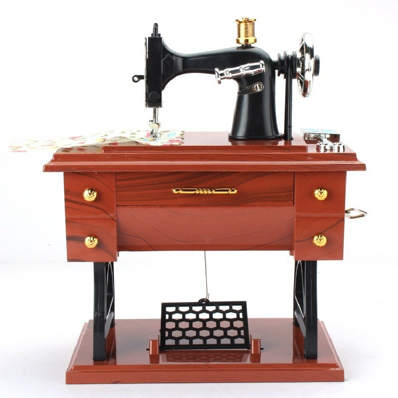 Retro Vintage Sewing Machine Music Box Birthday Gift Home Decoration - Wood Grain - 3R48562612