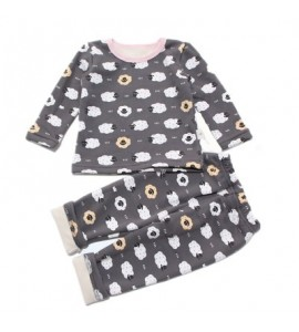 Baby'S 2 Pcs Set Cartoon Pattern Comfy Long Sleeve Homewear - Gray - 4454322712