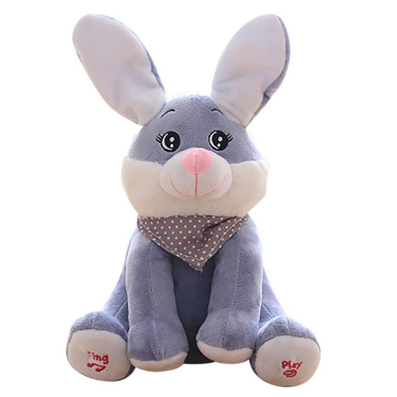 Singing Rabbit Soft Stuffed Plush Toy - Gray - 3847712913