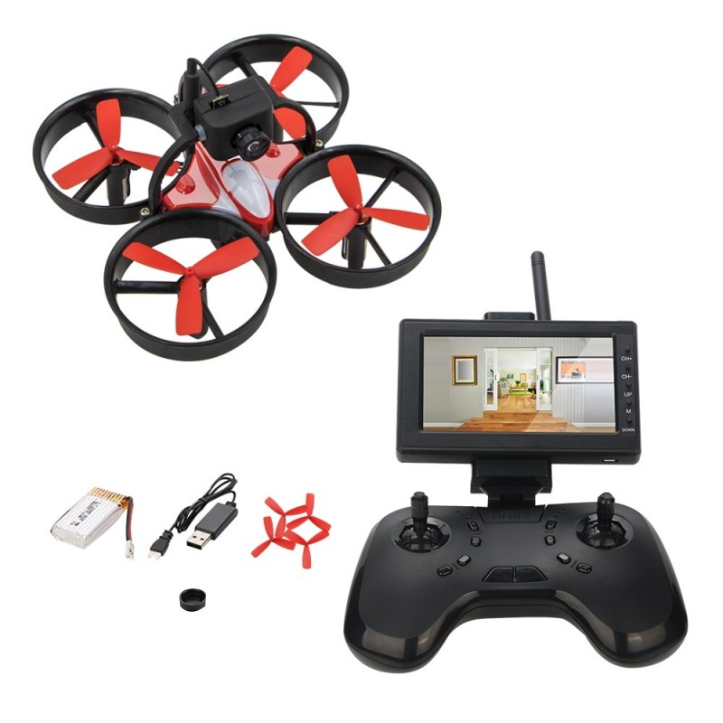 1060 Mini FPV RC Drone Equipped with 600TVL HD Camera Transmitter 4.3 inch 5.8G 40CH LCD Monitor Receiver - Black