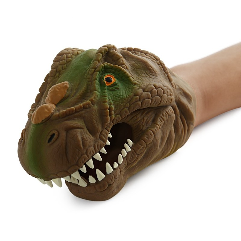 Funny Dinosaur Model Hand Puppet Interactive Toy - Brown - 3623450912