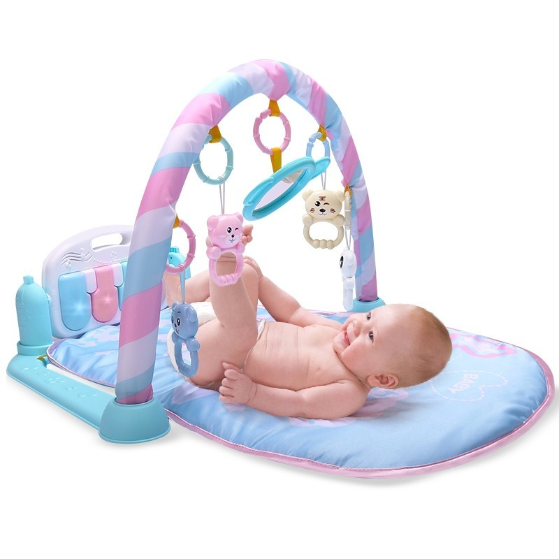 Baby Fitness Play Lay Mat Piano Rack Music Game Blanket Mirror Hanging Toy - Light Sky Blue - 3H83068513