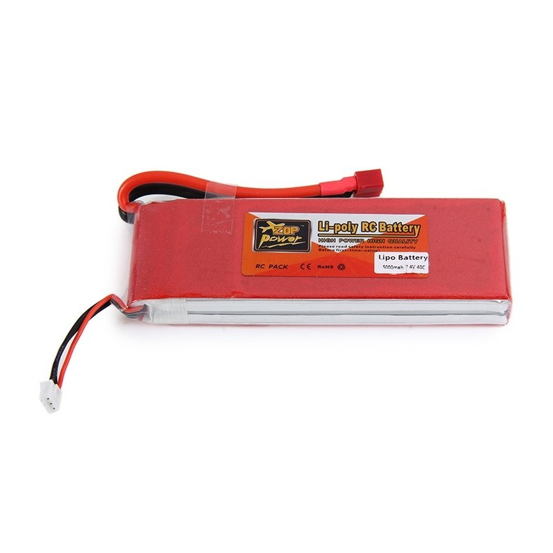 ZOP Power 5000mAh 7.4V 40C T Plug Lithium Battery RC Car Spare Part - Red - 2X58207212