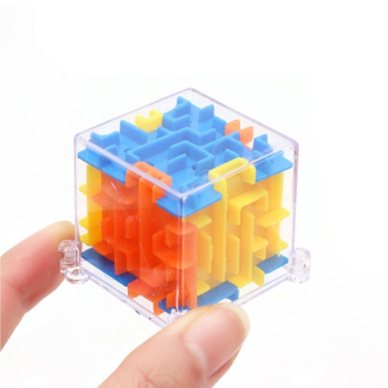 MINI 3D Maze Magic Cube Puzzle Speed Game Labyrinth Ball Educational Toys - Yellow - 3L50204212