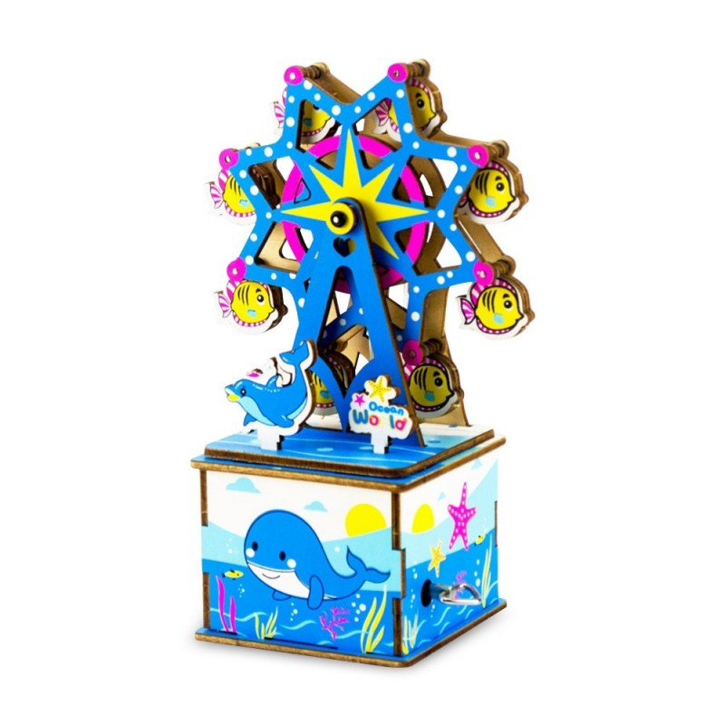 OK003 Creative DIY Wooden Crafts Puzzles Handmade Mechanical Music Box - Sky Blue - 4A84373112