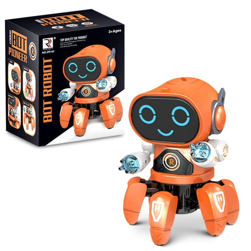 Six-claw Music Dancing Electric Robot for Children - Orange - 5W52438913