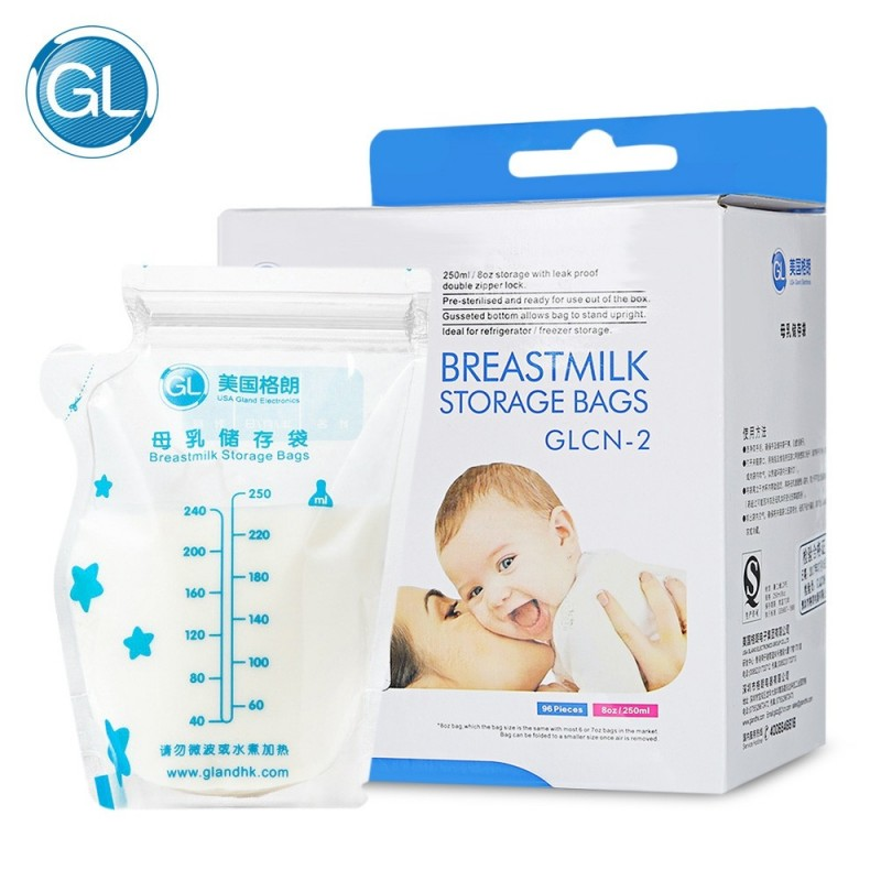 GL 96pcs Baby Breast Milk Food Storage 250ml Disposable Bag - Transparent - 3646623412