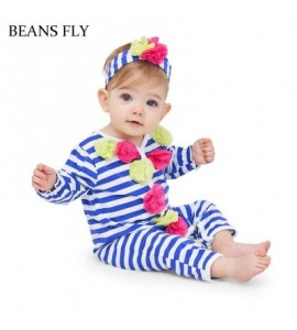beans fly 2pcs Baby Romper Headband Infant Striped Flowers Jumpsuit Outfits Clothes - Royal Blue - 3R83553212