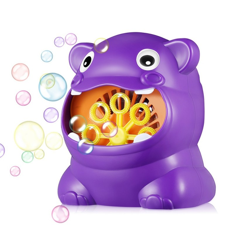 011 Hippo-shape Full Automatic Bubble Machine Children Toy for Boys and Girls - Purple Flower - 3R70866313