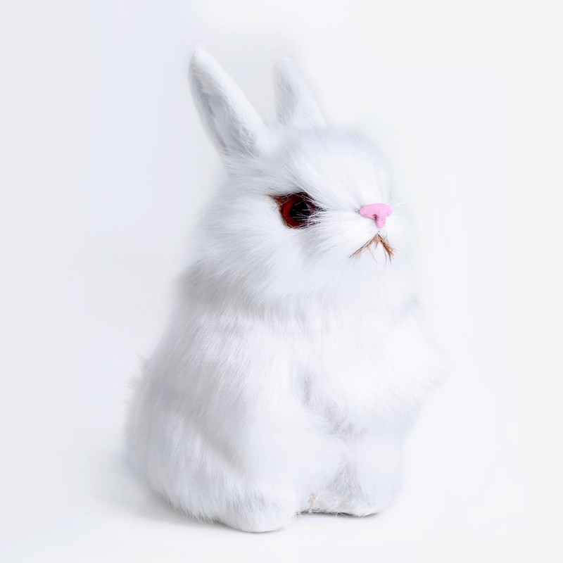 Lovely Mini Simulation Rabbit Doll Plush Toy Birthday Christmas Gift for Baby - White - 3Y14580812