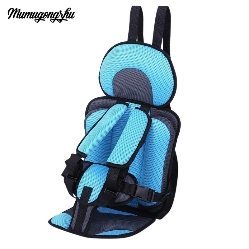 Mumugongzhu Kids Safety Thickening Cotton Adjustable Children Car Seat - Light Blue - 2191669016