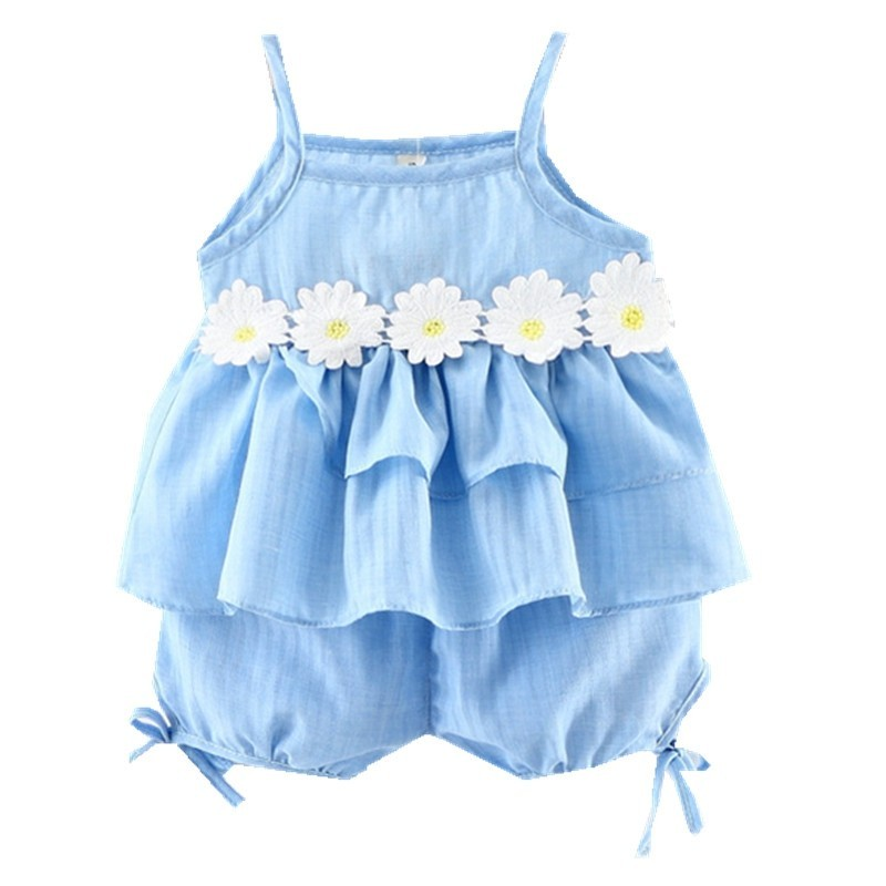 Baby Girl's Shorts Set 2pcs Ruffled Tank Top and Clothes - Light Blue - 3Q60684317
