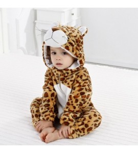 Baby Long Sleeve Cartoon Animal Modeling Warm Romper - Light Brown - 4C07467716